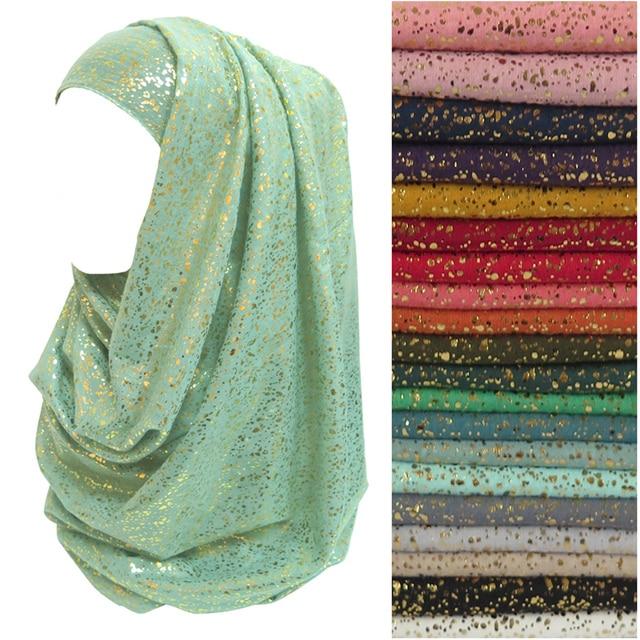 Gold Glitters Womens Head Scarf Muslim Hijab Wrap Soft Lightweight Fabric