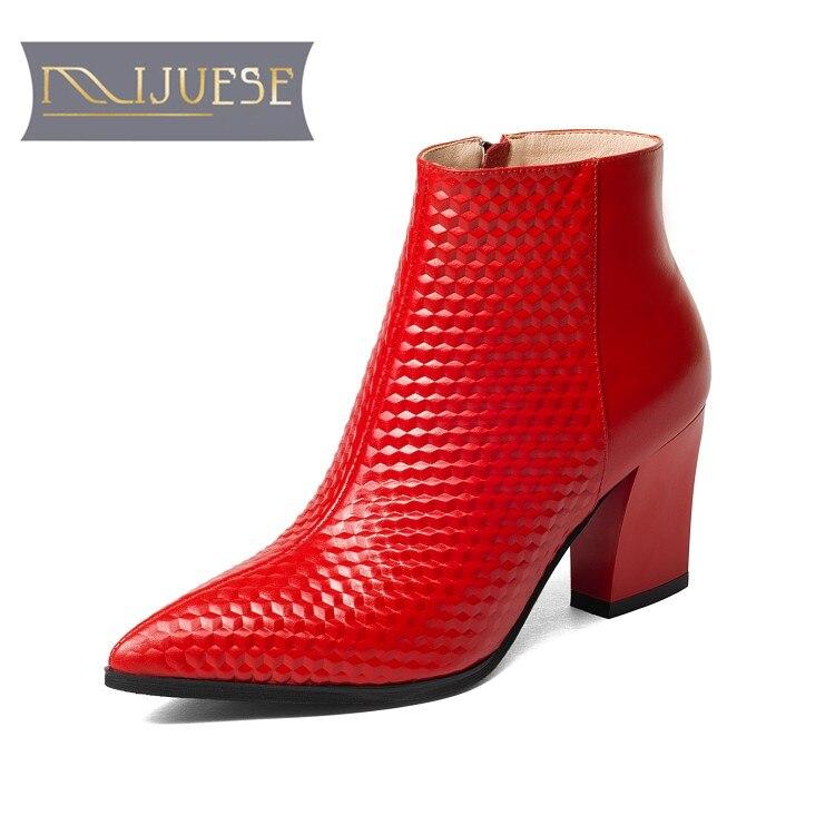 MLJUESE 2018 femmes cheville bottes en cuir de vache rouge couleur automne printemps glissement sur fermetures à glissière cheville bottes femmes bottes d'équitation bottes