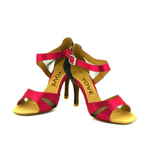 YOVE Dance Shoe Satin and mesh Women's Latin/ Salsa Dance Shoe 3.5″ Slim High Heel More Color w143-2
