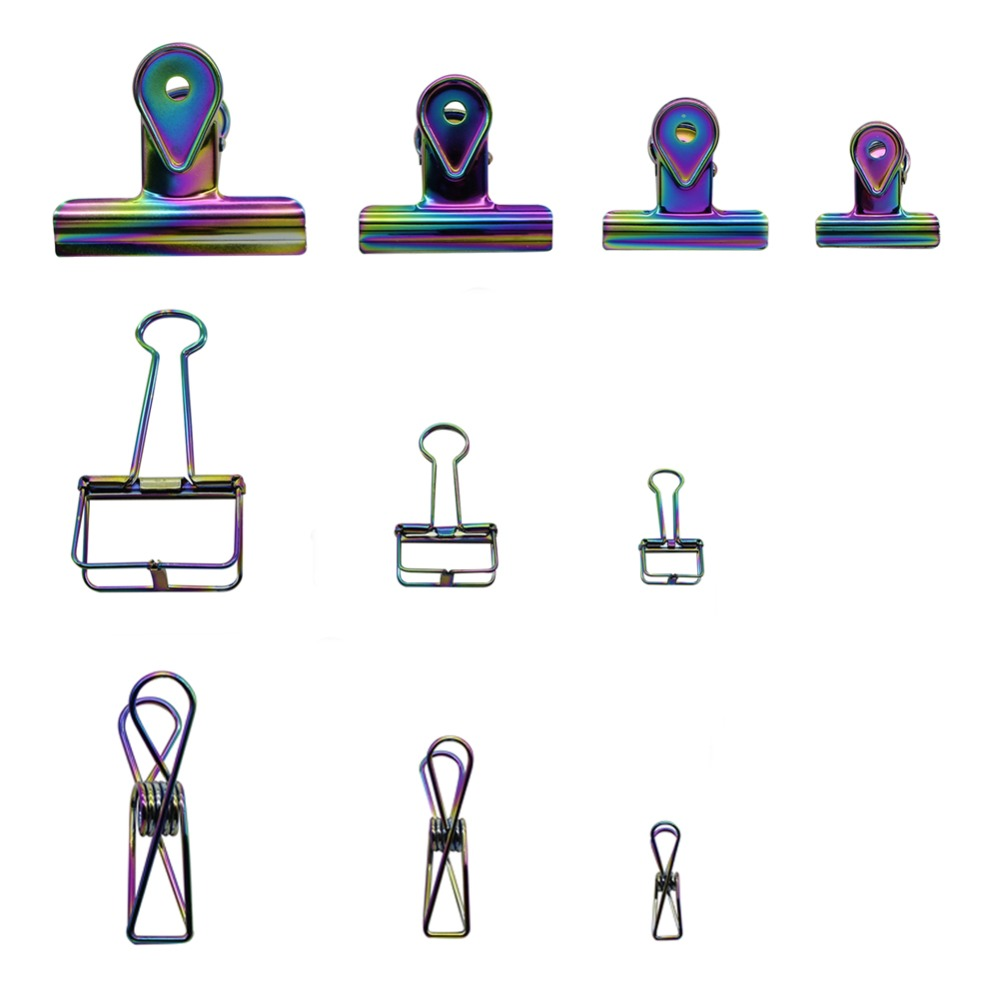 1 Pc Metal Rainbow Color Plating Elliot Folder Novel High Quality Stainless Steel Ticket Holder Paper Clip Clamp Office Supplies