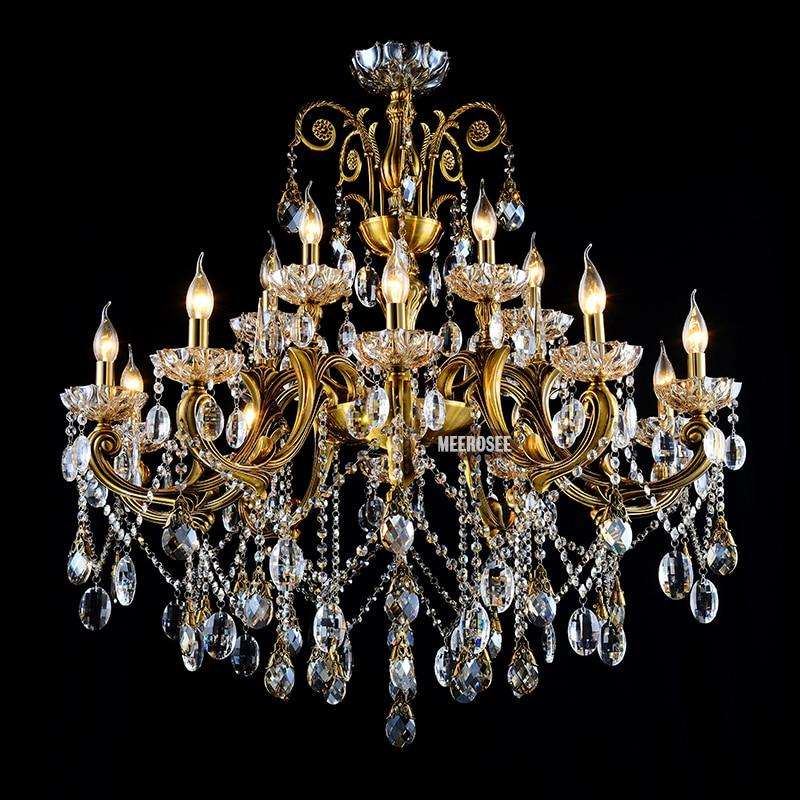 VROČE! Veliki kristalni lestenec svetilka starinska medenina Velika - Notranja razsvetljava - Fotografija 2