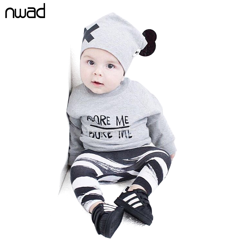 NWAD Newborn Baby Boys Girls Clothes Set Long Sleeve T-shirt + Striped Pants + Hat 3pcs Set Toddler Baby Clothing Outfits FF211 cotton baby rompers set newborn clothes baby clothing boys girls cartoon jumpsuits long sleeve overalls coveralls autumn winter