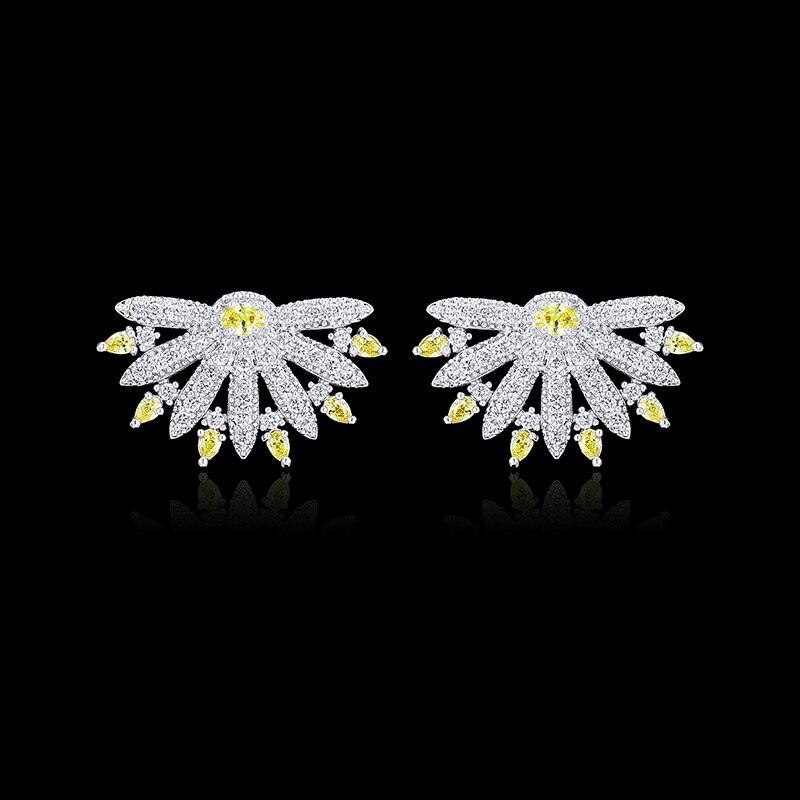XIUMEIYIZU Fashion Rhodium Pated Brass Jewelry 3 Colors Choice Cubic Zirconia Spike Stud Earrings 2017 New Brincos