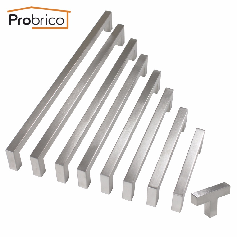 Probrico Cabinet Handle Kitchen Door Drawer Cupboard Pulls 10mm Stainless Steel Square Knobs And Handles For Furniture Hardware