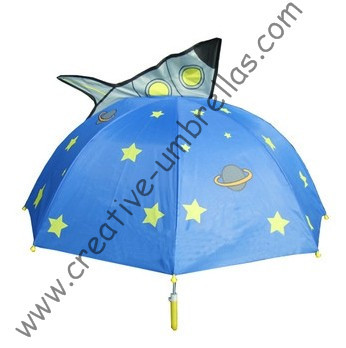 Children umbrella,kid animal cartoon umbrella--Blue Rocket,auto open.8mm metal shaft and fluted ribs,safe kid umbrellas