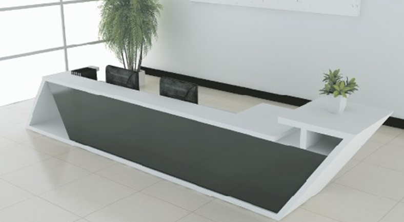 New Design Modern Fashionable White Wooden Office Or Wedding Reception Table Counterswith Smoke Glass Qt3900