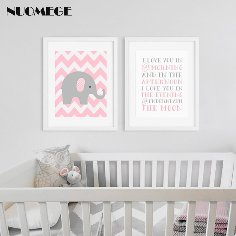 NUOMEGE Nursery Print Decor Elephant Pink Gray Wall Art Canvas Painting Love Quote Poster Art Decorative Picture for Living Room in Painting Calligraphy from Home Garden