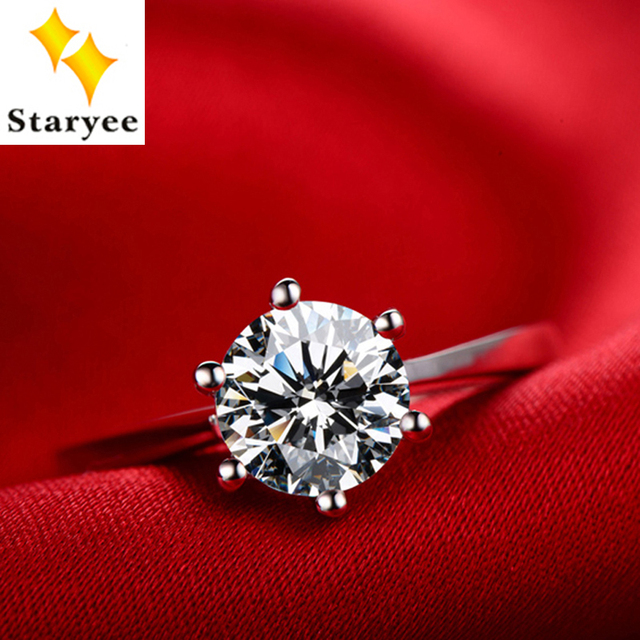 Certified 1 Carat Forever One Genuine 18K Solid White Gold Classic Design Moissanite Diamond Anniversary Rings For Women Jewelry