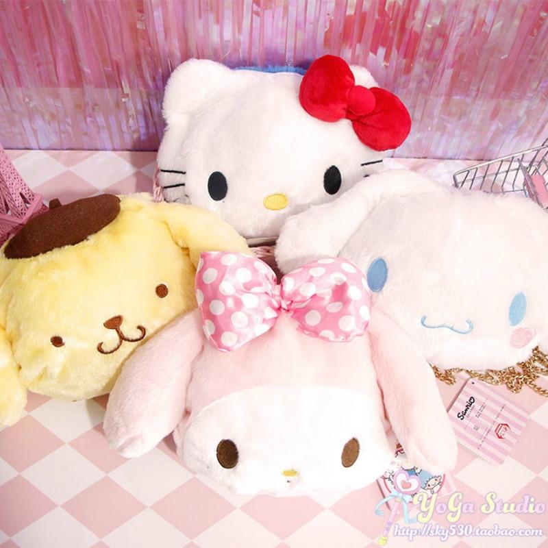 Cartoon Cute Hello Kitty My Melody Cinnamoroll Pompompurin Plush Doll Crossbody Bag Children Wallet Purse Bag For Girls Gifts