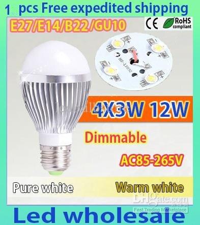 1pcs/lot Retail Dimmable Bubble Ball Bulb AC85-265V 12W E14 E27 B22 GU10 High power Globe light LED Light Bulbs Lamp Lighting