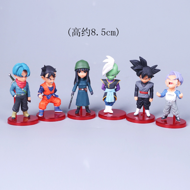 Toys & Hobbies Dynamic 6 Pcs/set Anime Dragon Ball Z Goku Gohan Trunks Dark Goku God Super Saiya Q Ver Action Figure Dbz Pvc Model Toy 8.5cm