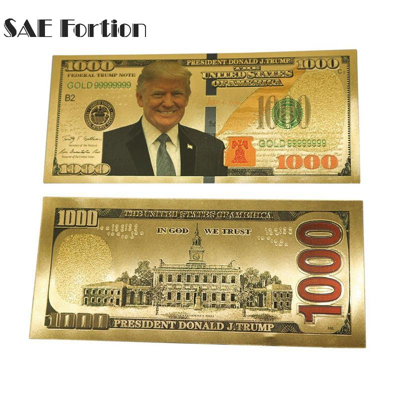 1pc US President Donald Trump Banknotes Paper Money Collection $1000 Banknotes Gold Foil Bill Currency Collection JNB9900