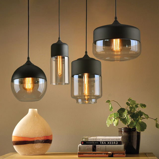Goede Moderne minimalistische loft Glazen Lampenkap Hang lamp bar WW-08