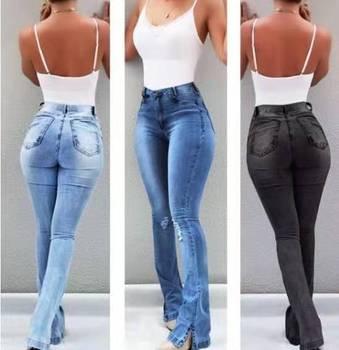 Nowy 2019 wysokiej talii kobiece dziurawe dżinsy dla chłopaka dla kobiet Plus Size spodnie Bell Bottom Denim Flare dżinsy dla mamy obcisłe dżinsy rurki kobieta tanie i dobre opinie KEAIYOUHUO Pełnej długości COTTON Poliester spandex Pani urząd JEANS Zmiękczania Boot cut REGULAR light WOMEN HOLE