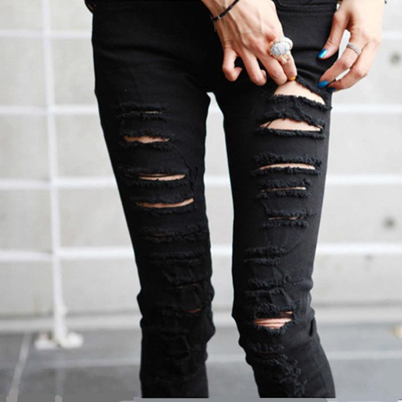 2017 Fashion Women Big Hole Cotton Black Jeans Female Personality Beggar Pant Distrressed White Elastic Skinny Slim Pants