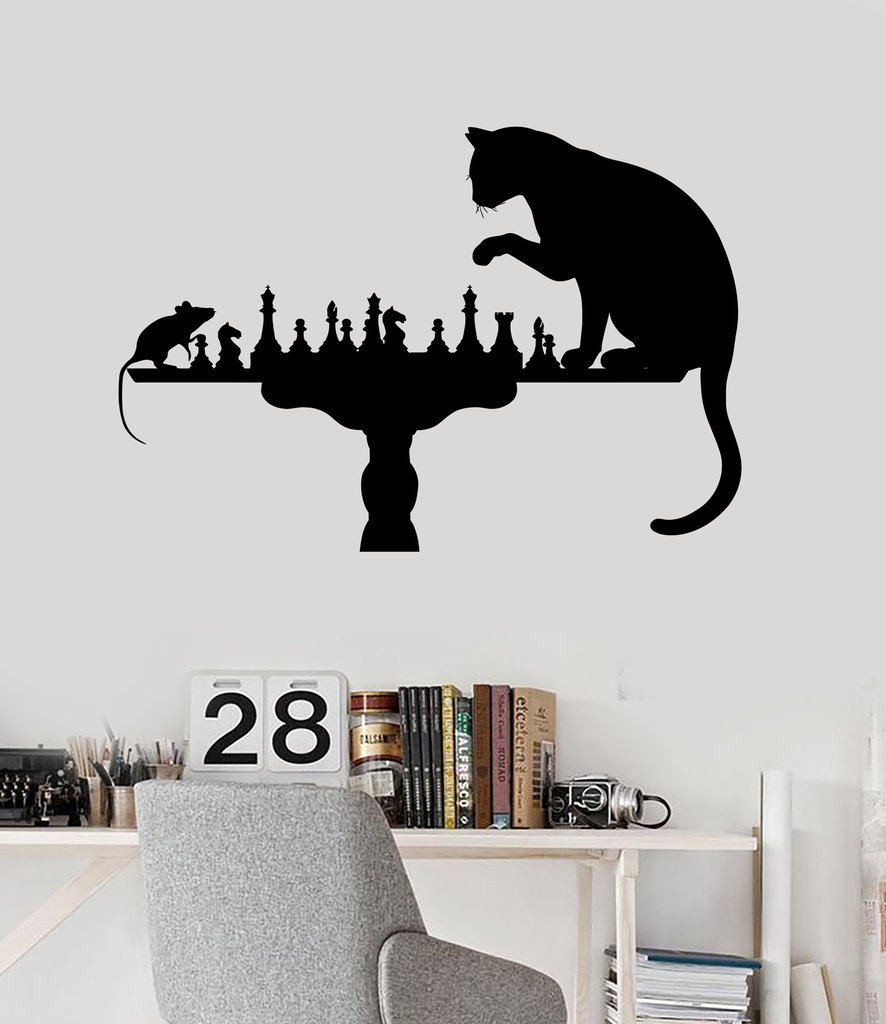 Funny Chess Cat Mouse Wall Stickers Home Decoration Wall Vinyl Decal For  Living Room Bedroom Hot Sale Art Wall Tattoo SA157 In Wall Stickers From  Home ...