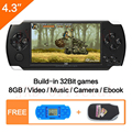 Envío gratuito 4,3 ''Handheld consola de juego 8 GB portátil juego de Video incorporada de 1200 + real reano-repito gratis clásico juegos MP3/4