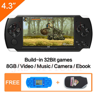 FreeShipping 4.3''Handheld Game Console 8GB Portable Video Game built in 1200+real reano repeat free classic games support MP3/4