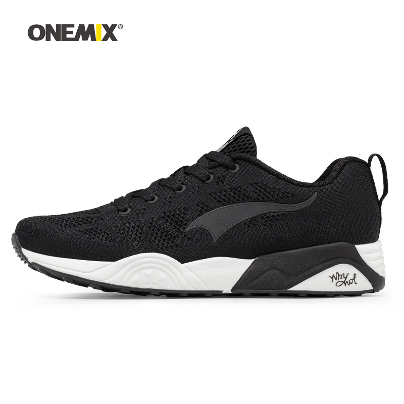 Onemix Men Running Shoes for Women Black Knit Mesh Air Breathable Designer Trail Jogging Sneakers Outdoor