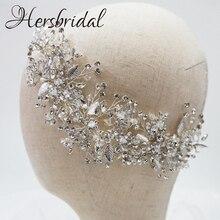 高品質クリスタルブライダルヘア櫛手作りラインストーンウェディングかぶと髪の宝石花嫁 2019