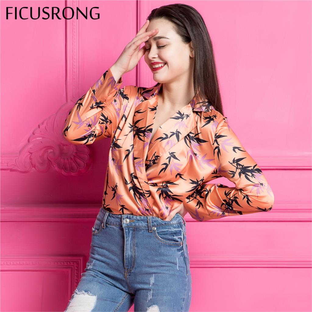 FICUSRONG Deep v neck floral print bodysuit women Long sleeve elegant jumpsuit romper Sexy orange satin overalls soft playsuit
