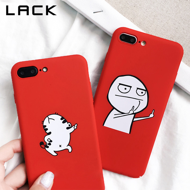 LACK Funny Cartoon Phone Case For iphone X Case For iphone 6S 6 7 8 Plus Cover Dancing Cat Abstract Unicorn Middle Finger Cases