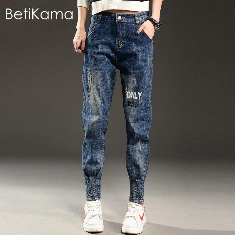 BetiKama Fashion Casual Harem Pencil Pants Jeans Woman Vintage Denim Jean Femme 2017 Letter Pattern Trousers Boyfriend Jeans 32