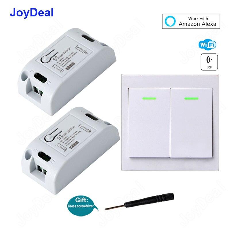 WiFi inalámbrico inteligente interruptor módulo receptor, 433 Mhz, 110 V 220 V casa inteligente Control remoto pared interruptores de luz de trabajo con Amazon Alexa
