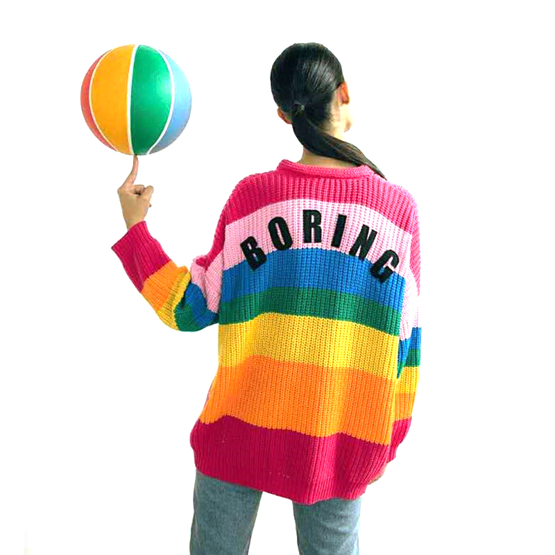 Rainbow Color Cardigan Sweater Women Stripe Color Sweet Knitted Cardigan Loose Button Knitted Coat