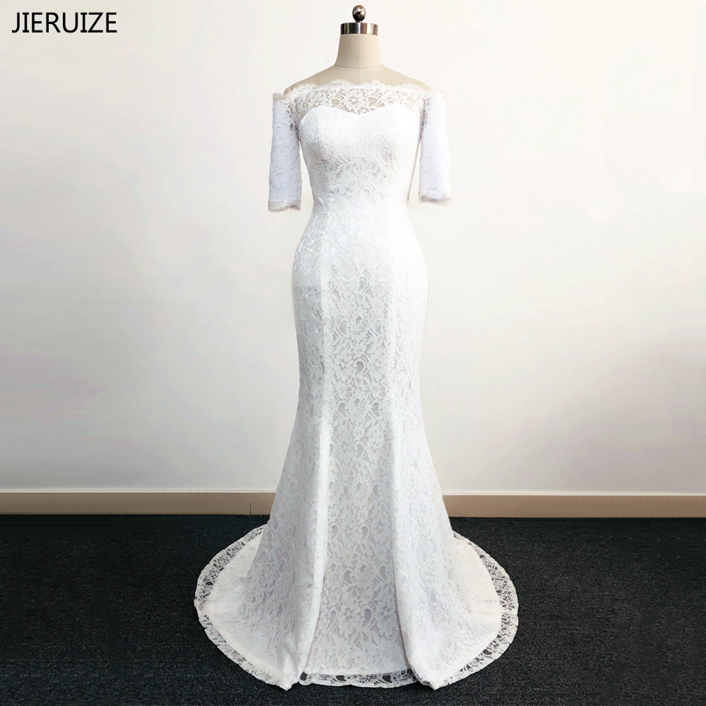 JIERUIZE Vestidos De Novia White Lace Mermaid Wedding Dresses Off The Shoulder Half Sleeves Wedding Gowns Robe De Mariage