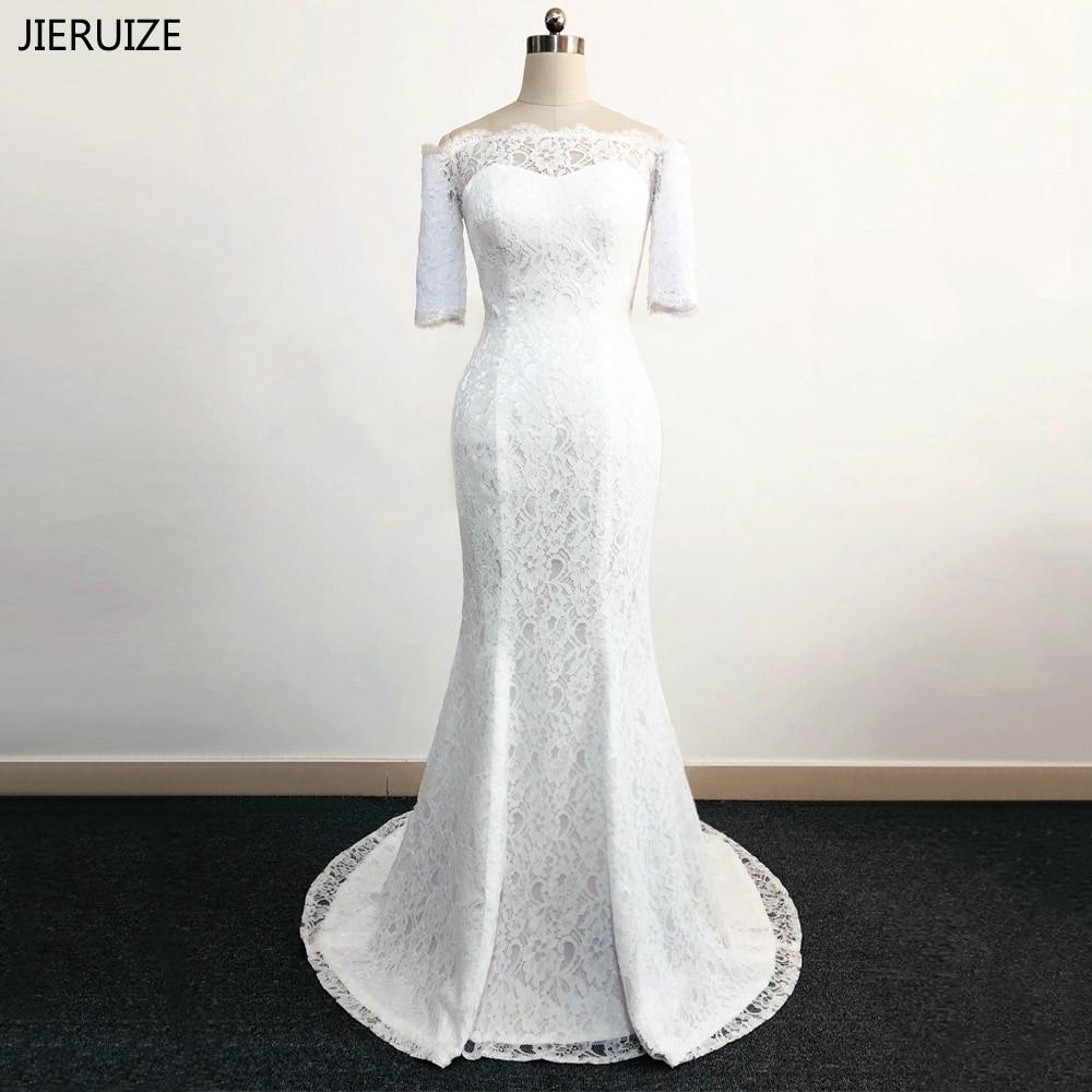 JIERUIZE vestidos de novia Bílé krajky Mořská panna Svatební šaty z ramene Půl rukávů Svatební šaty robe de mariage