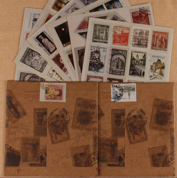 71 Pcs Vintage Old Stamp Stickers Photos Picture Decor Props Stickers For DIY Album Accessory Scrapbooking Photo Album