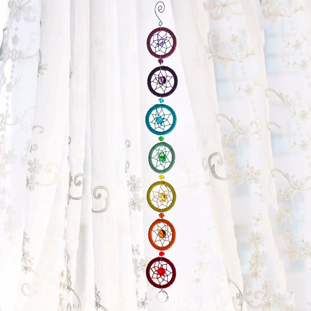 H & D Chakra Muladhar Dream Catcher il Colore Giusto con il Chakra Wall Hanging Decor Arredamento Nautico Dreamcatcher 18.5 pollici V3