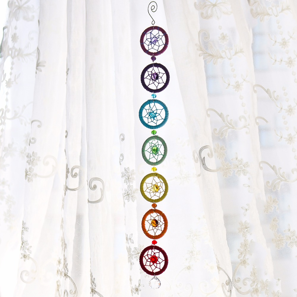 H & D Chakra Muladhar Traumfänger Richtige Farbe mit Chakra Wand Hängen Dekor Nautischen Wohnkultur Dreamcatcher 18,5 zoll V3