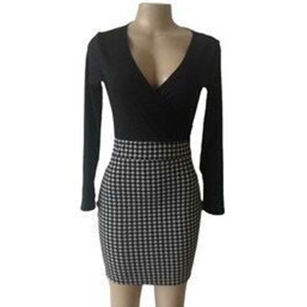 Women's Office dress Formal Business Stretch Cocktail Party elegant grid patchwork sheath Slim OL work mini lady Pencil Dress 2