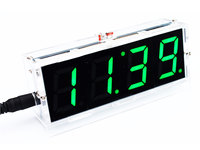 DIY Kit Green LED Electronic Clock Microcontroller Digital Clock Time Thermometer With PDF Tutorial