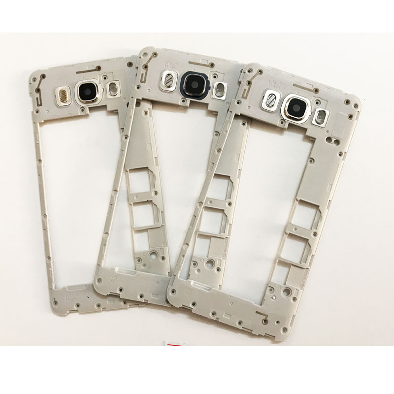 New For Samsung Galaxy J7 J710 2016 Middle Frame Plate Bezel Back Rear Housing Cover With Rear Camera Glass Lens Replacement