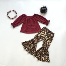 Güz/kış bebek kız çocuk giyim seti kıyafetleri butik leopar süt ipek şarap ruffles üst pantolon pamuk maç aksesuarları