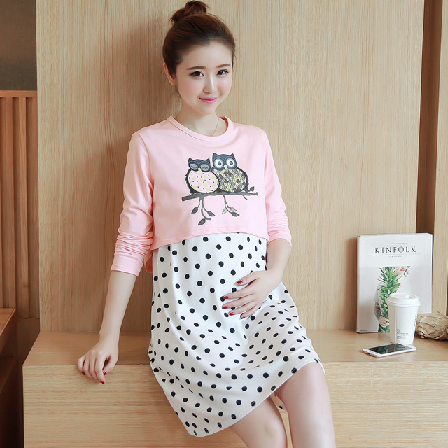 Korean version of the cartoon owl Maternity Hitz large size and long sections cotton T-shirt fake two-piece dress vest tide