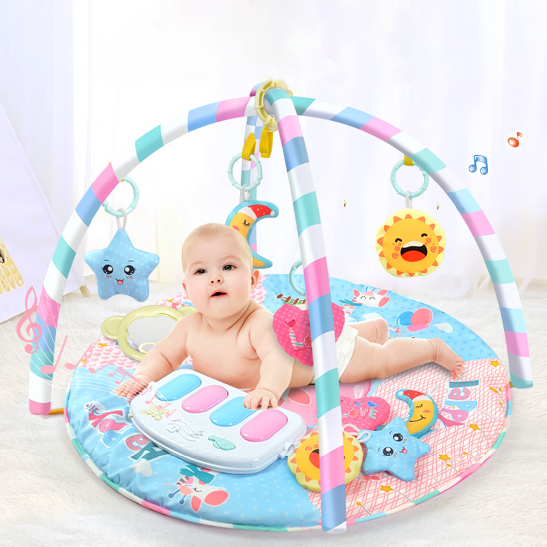 NFSTRIKE baby play mats for kids Activity Fitness Rug Musical Piano Game Toy with Light for Baby Toys Educational Developmental baby kids toy musical piano activity cube play center with lights mulitfunctions