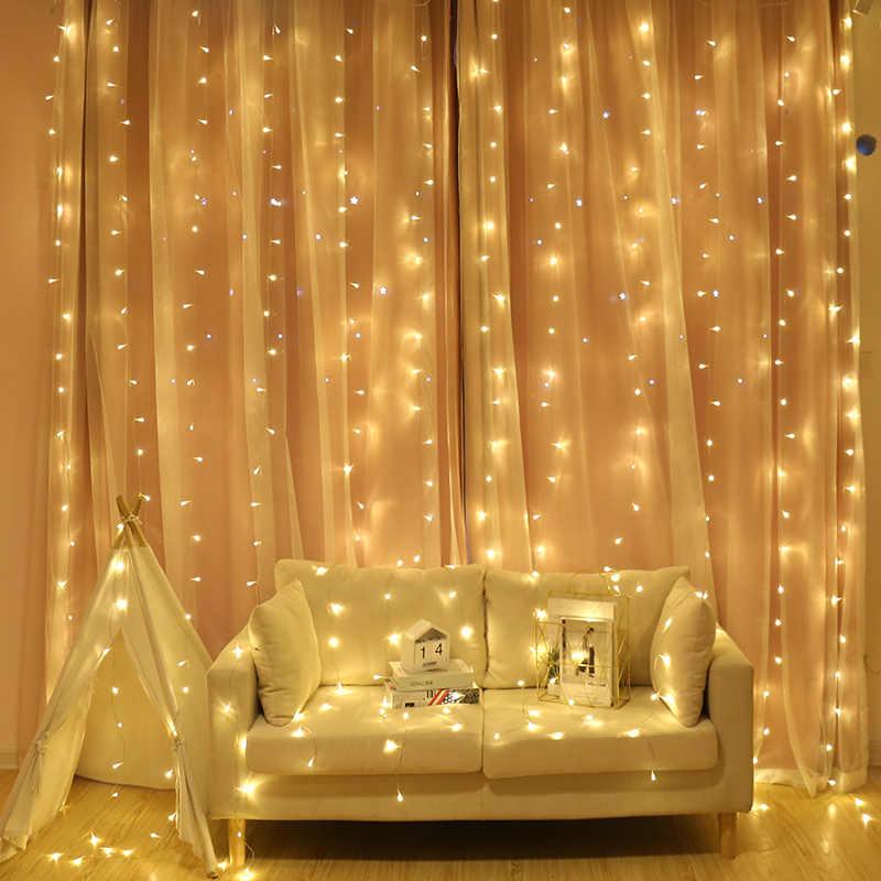 Светодиодный сказочная сосулька, гирлянда, светодиодный свет на Рождество, Свадебные огни для помещений, коридора, портала, занавески, светодиодные украшения