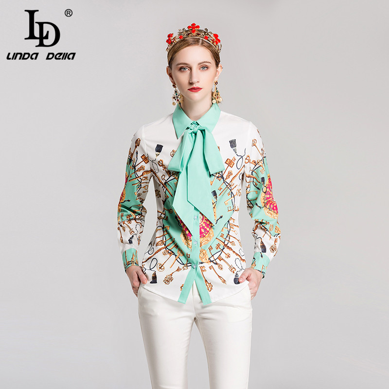 LD LINDA DELL Bow Collar Shirts Print Vintage Blouse 130101