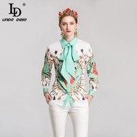 LD LINDA DELL Fashion Women Blouse Long Sleeve Bow Collar Shirts Print Vintage Blouses Tops High