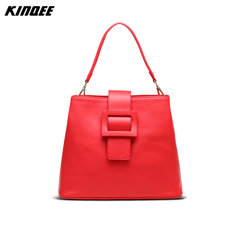 купить Bucket Bag Genuine Leather Cow Leather Messenger Shoulder Handbag Casual Solid Luxury Designer Women 30CM Lady Hasp Bags по цене 4419.84 рублей