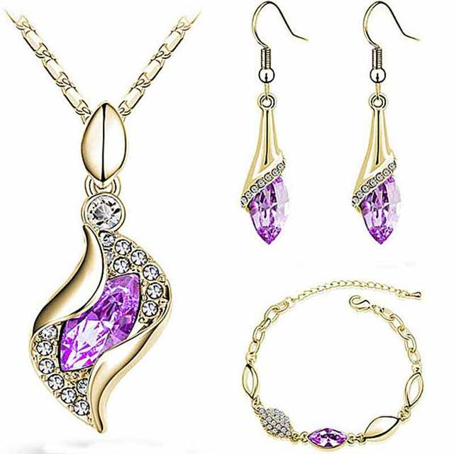 SHUANGR Top Quality Elegant luxury design new fashion Gold color colorful Austrian crystal drop jewelry sets women gift