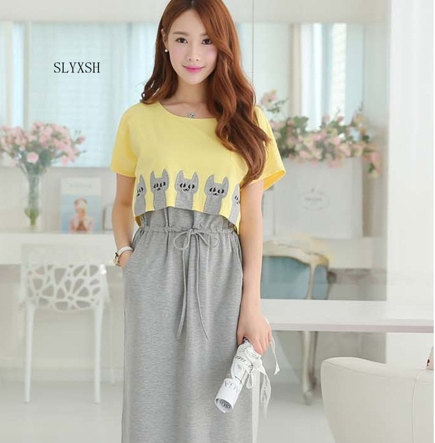 235e94e43d581 2018 Summer Maternity Clothing Wear Breast Feeding Cotton Maternity Dresses  Clothes for Pregnant Women Pregnant Dress