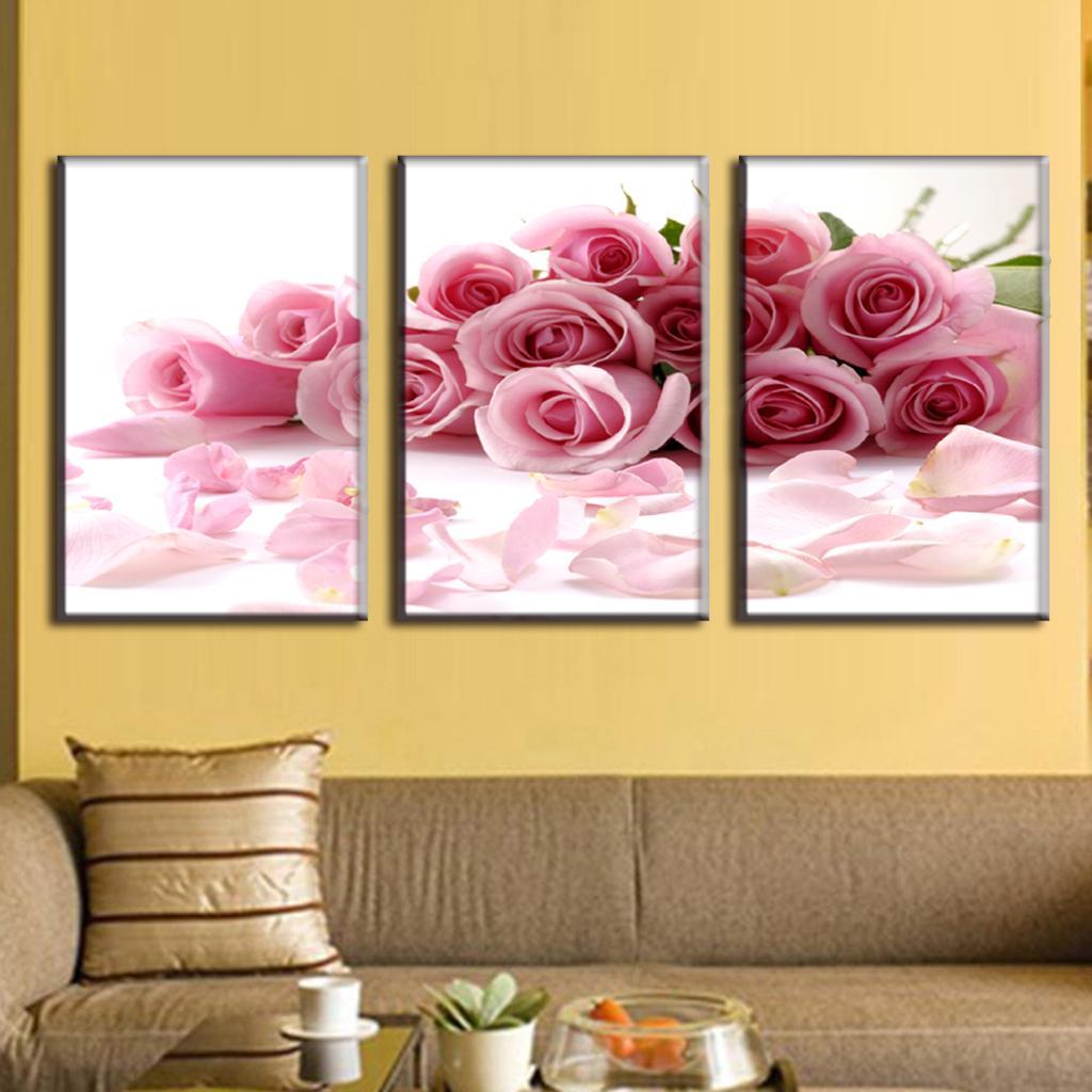 3 Piece Canvas Art Flower Canvas Print Rose bouquet Pink Modern Wall ...