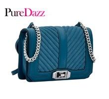 PureDazz Women Bag For 2018 Luxury Ladies Genuine Leather Fashion Shoulder Crossbody Female Flap With V Lattice