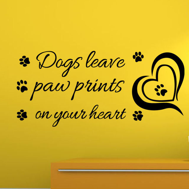 Dogs Leave Paw Prints On Your Heart Decorative Wall Art Mural Decal Stickercute Dog
