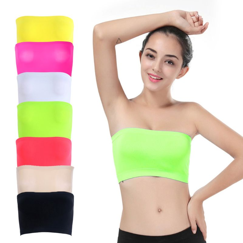 Women One-Piece Seamless Elastic Strapless Bandeau Bra Tube Top Bra For Summer Lady Girl One Size Chinlon/Nylon